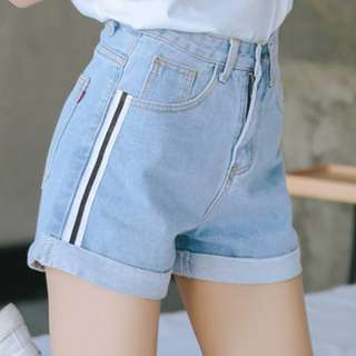 INSTOCK Light Denim Striped Shorts