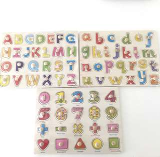 Baby Alphabets & Numbers Wooden Puzzle Blocks