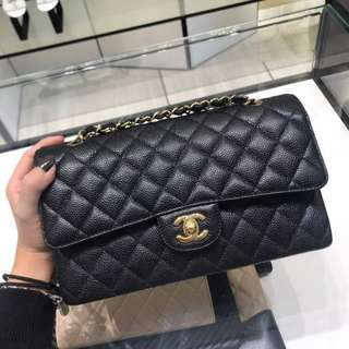 Brand New Chanel Classic Medium Double Flap in Black Caviar with GHW