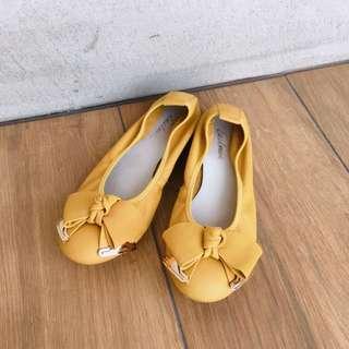 專櫃EA黃色蝴蝶結娃娃鞋