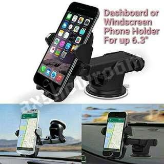 Dashboard or Windscreen Strong Suction Phone Holder With Extendable Arm For Flexible Placement.