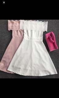 Dusty pink off shoulder dress