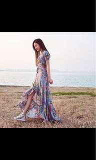 Floral Print Maxi Dress Ruffles