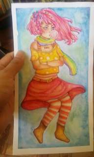 Bubblegum Girl Painting on 200 GSM Watercolor Paper