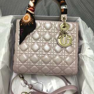 Brand New Lady Dior Medium in Pearly Pink with GHW