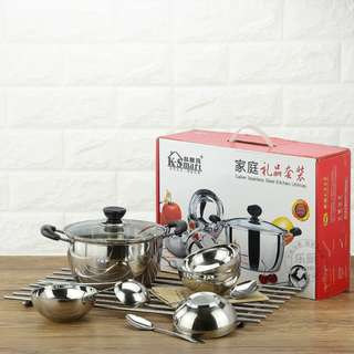 Sigang stainless kitchen ware soup pot/set of bowl/ladle stainless spoons 10in1