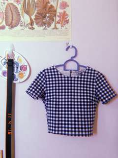 Pull and bear gingham checkered blue crop top