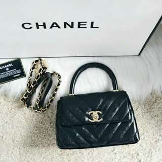 Chanel Coco Handle Flap Quilted Chevron Mini Bag