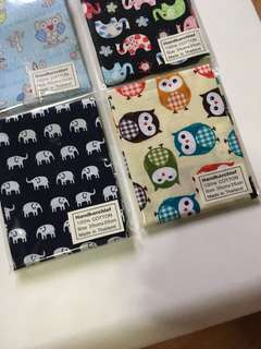 Lot of Cute owls and elephants handkerchiefs
