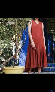 磚紅長洋裝