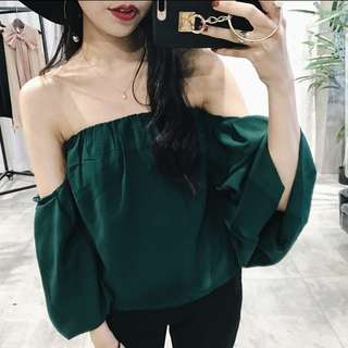 Off Shoulder green Top