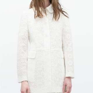 🈹 Zara White Women Embossed Lace Overlay Jacket  🈹 白色蕾絲長外套全新未剪牌