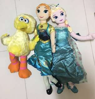 Brand New Disney Elsa and Anna and Big Bird. Let your kid enjoy for low price.