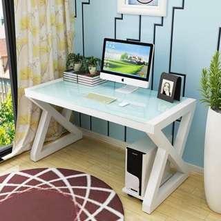 Office Desk White Tempered Glass White Frame OD-07C