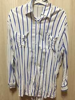 🚚 韓版藍色直條襯衫