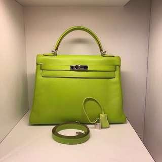 正品 90%新 Hermes Kelly 32 Kiwi 奇異果綠色Epsom 手挽側揹袋 超美!