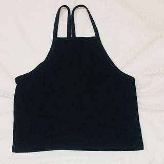 Black croptop halter top