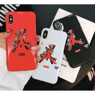 手機殼IPhone6/7/8/plus/X : 潮牌*Jordan全包黑邊光面軟殼