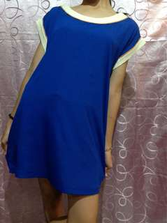 Blue straight long blouse
