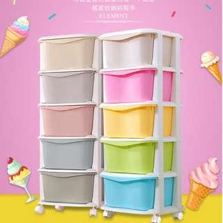 5 Tiers Ice Cream /Macaron Colour Drawer Storage Cabinets