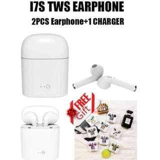 (送精美蘋果有線彩色耳機) I7S TWS 雙耳真無線藍芽耳機連充電盒,  Wireless Bluetooth headphone V4.2 portable Mini headset hbq charger box3....