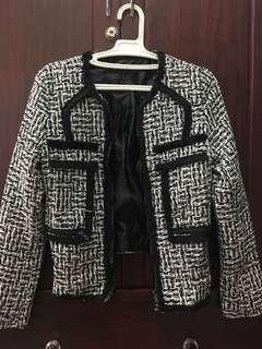 Woven Pattern Zip Blazer