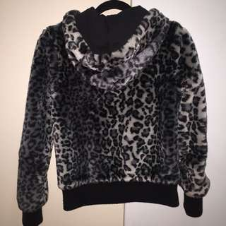 BOSSINI Leopard Faux Fur Hood Jacket