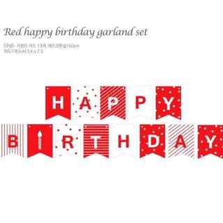 Mini Red Happy Birthday Garlands Set