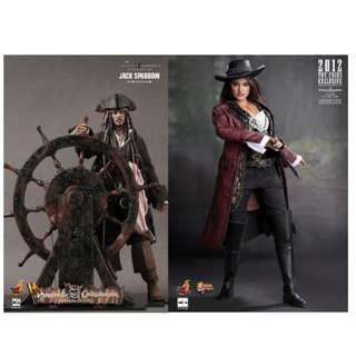100% Factory Sealed Hot Toys Pirates of the Carribean On Stranger Tides DX06 DX-06 DX 06 Captain Jack Sparrow & MMS181 Angelica set of 2