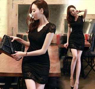 [BNWT] Bodycon sexy lace dress in black