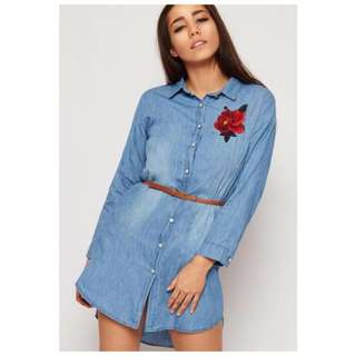 Embroidered Floral Denim Polo Shirt