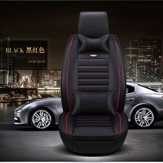Car Seat Cover Leather New (for all front and back) + Neck / Head Rest + Pillow / Back Rest