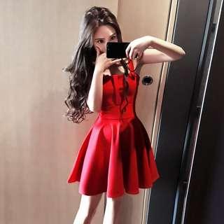 Minimei追加款✪韓系韓版歐美風百搭休閒 春裝新款韓版減齡修身紅色吊帶收腰顯瘦內搭連衣裙