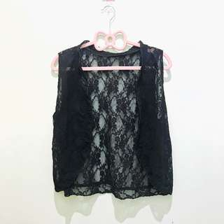 Black | sleeveless blazer | lace
