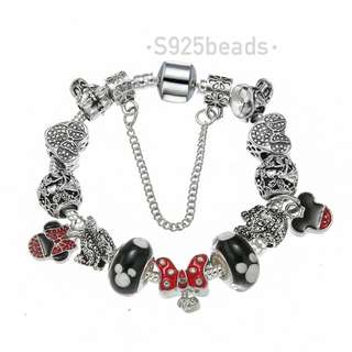 Disney Minnie bowknot  sterling sliver bracelet