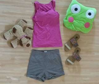 Padded sleeveless and highwaist shorts