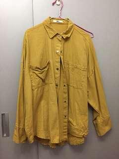 🚚 黃色長板襯衫