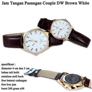jam tangan Couple Kulit Dw Clover WHITE