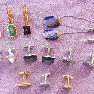 Assorted cufflinks and pins