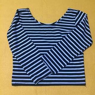 stripes crop long sleeves