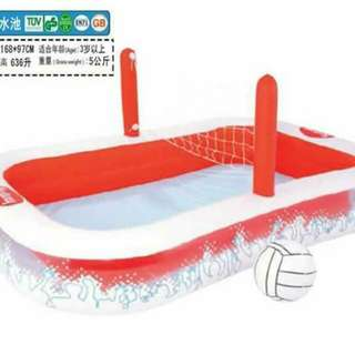INFLATABLE POOL WITH VOLLEYBALL NET