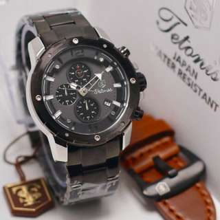Jam Tangan Pria Original Tetonis Body Silver Black