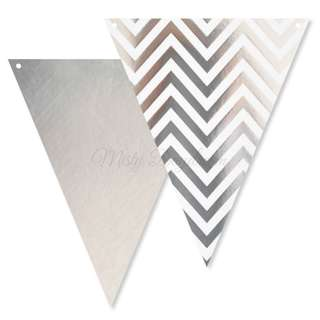Chevron Bunting Flags – Silver