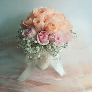 Fresh Roses & Baby's Breath Bouquet (Wedding / ROM/ Engagement/ Bridesmaid / Proposal/ Anniversary)