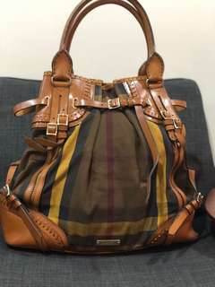 Burberry Prorsum large check brown leather and canvas tote