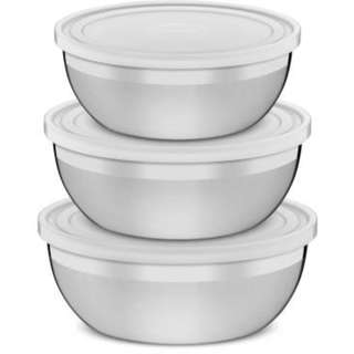STAINLESS STEEL STORAGE BOWL 3PCS A SET