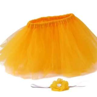 Baby Photography Props/ Infant Tutu Skirt with Flower Headband (Yellow)