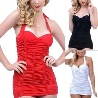 Retro Vintage Ruched One Piece Swimsuit in Red Black or White