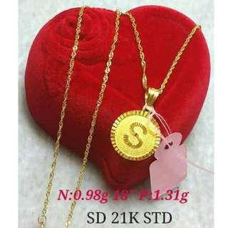 21K SAUDI GOLD NECKLACE (CHAIN & PENDANT) >>>><