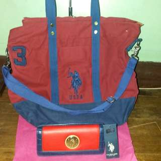 Like New US Polo association dual sling bag and wallet not Ralph Lauren RL